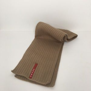 Prada Ribbed Knit Scarf Tan Unisex